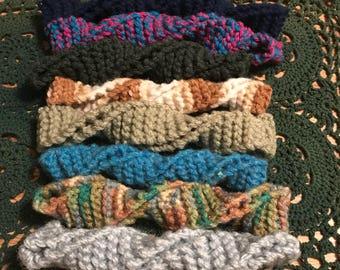 Hand Knit Narrow Headband, Twist Ponytail Bun Holder