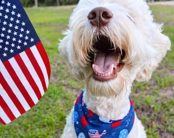 Personalized Patriotic Dog Bandana |•| Summer Whales Puppy Gift  |•|The Best Reversible Bandanas by Three Spoiled Dogs