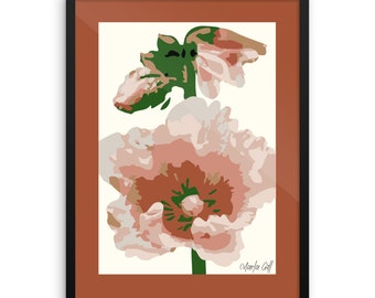 Stylized Poppies, Art Poster, Framed and Ready to Hang