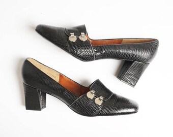 sz 8   Deadstock Vintage 60's Mod Black Leather Faux Snakeskin Loafer Heel by Manor-Bourne for I.Magnin & Co.