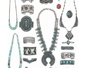 Old Pawn I. Turquoise Jewelry Collection . giclee print of original illustration by Hilary Wootton. two sizes available