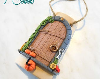 Fairy Door-Tile hanger, made of handmade fimo