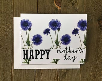 Card for Mom - Mother's Day Card - Mother's Day - Mother - Mom - Mum - Card for Mother - Cornflower - Blue - Flower - ALS - Simple