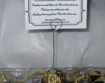 48 Wire card holders Picks for table number or name tags made for Ferrero Rocher Chocolates