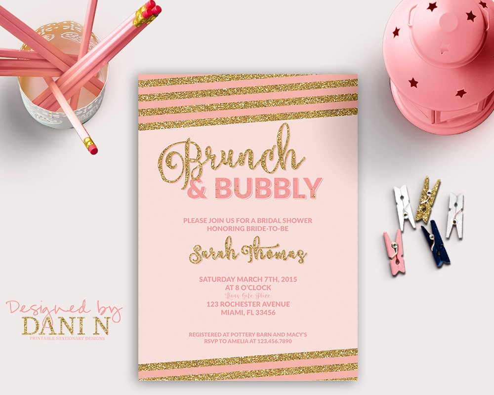 Bridal Shower Invitation Brunch Bubbly Bridal Shower