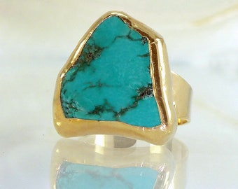 Raw Turquoise Ring, Raw Gemstone Ring, Turquoise Jewelry, Turquoise, Gold Ring, Turquoise Gold ring, Adjustable Ring, Gold, Turquoise Ring.