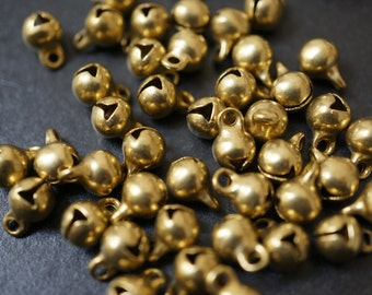 Raw Brass Jingle Bell Charms - 8mm with tip is 11mm - 10 pcs