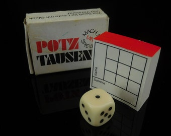 Table Game, collectible, vintage MINI dice Game, POTZ TAUSEND, complete in original box