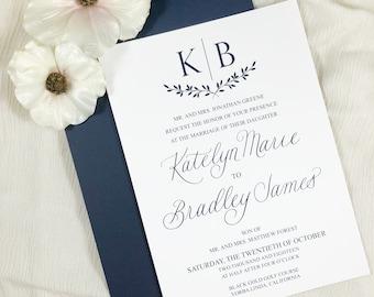 Monogram Wedding Invitation - Professionally Printed Wedding Invitation, RSVP card and Details Card - Simple and classic wedding