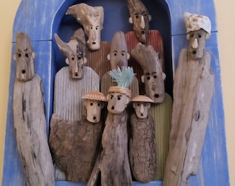 """Frame with driftwood, """"iodized survivors"""" characters."""