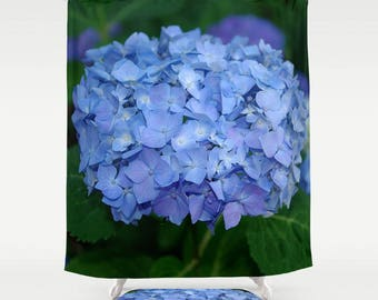 Blue hydrangea shower curtain, bath mat | nature inspired home decor, bathroom decor, nature lover gift, rustic home decor