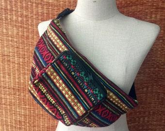 Multicolored Hip purse Fanny pack bag Boho Ethnic tribal Aztec Woven fabric belt festival Pouch Travel phanny waist Hippie Bohemian gift men