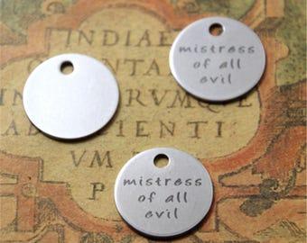 10pcs mistress off all evil charm silver tone message charm pendant 20mm ASD2163
