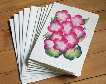 Set of 5 Flower Greeting Cards, Handpainted, Handmade, Blank Greeting Card, Note Card, Art Card, Any Occasion, Birthday Card, Girl, Floral
