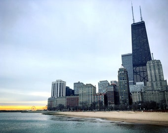 Morning walk in Downtown Chicago Skyline Photograph Print, Illinois, Cityscape, Waterfront, Photography, Home Decor, Print Art, Wall Art