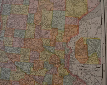 1898 State Map Minnesota - Vintage Antique Map Great for Framing 100 Years Old