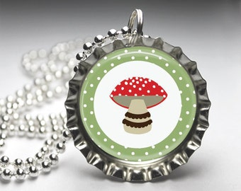 Woodland Friends Pendant, Woodland Friend Bottlecap Necklace, Bottlecap Pendant Jewelry, Free Ball Chain