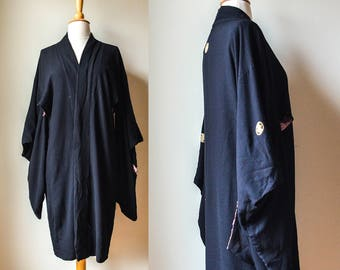 1920s 30s or Earlier Midnight Blue Black Kimono Style Robe Dressing Gown Silk Flapper TLC