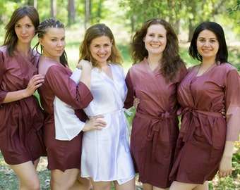 Brown Ombre TieDye Bridesmaids Robes. Kimono Sets. Solid Robes. Wraps bridesmaids gifts, getting ready robes, Bridal shower favors, Wedding