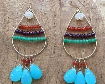 Aqua Chalcedony Earrings | Garnet Earrings | Chrysoprase Earrings | Carnelian Earrings | Ombre Earrings | Chandelier Earrings