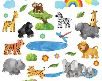 GET STICKING DÉCOR® Cute jungle safari animals wall stickers/ wall decals collection, safr.1. (Large)