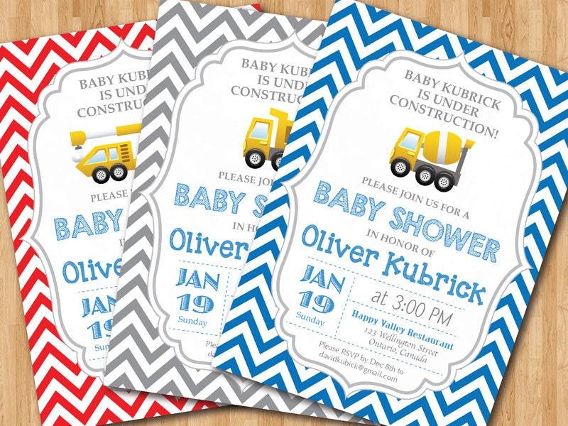 Construction baby shower invitation baby boy chevron invites zoom filmwisefo Gallery