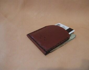 Handmade leather wallet, front pocket, bills and credit card slots