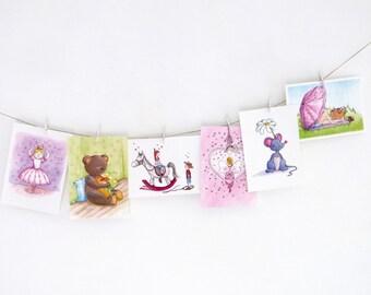 Ensemble de 6 différentes cartes postales (A6), plusieurs thèmes. Par Illu-Saleh.