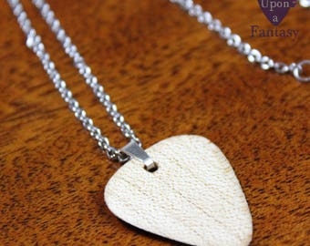 Guitar pick necklace made of maple wood for men and women - Once Upon a Fantasy