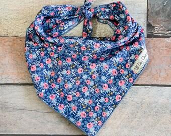 Flower Dog Bandana, Les Fleurs Rosa Navy Dog Bandana, Flower Bandana, Spring Bandana, Summer Bandana, Tie Bandana