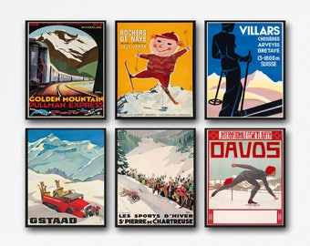 Set of Ski Posters Set of Mid Century Ski Posters Skiing Gift For Skier Winter Sports Wall Art 1950s Wall Art Set of Sports Prints