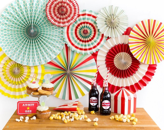 Carnival Party Fans, Circus Themed Party Decor, Aqua and Red Pin Wheel Backdrop, Rosettes Paper Medallions, Paper Pinwheel