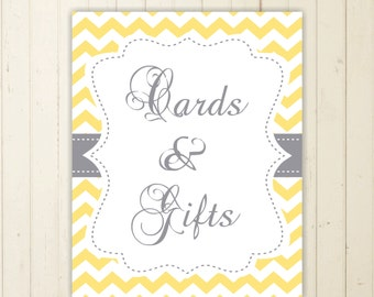 gift table sign cards and gifts sign chevron baby shower sign yellow baby shower sign boy baby shower gift and cards sign 103
