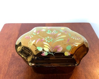Vintage Wade England Copper Lustre Fine China Jewelry Box