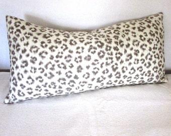 CHEETAH LINEN lumbar bolster throw pillow 13x26 insert included