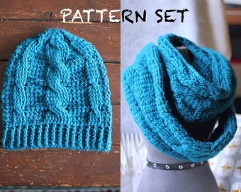 PATTERN SET Hat & Scarf Set Crochet patterns | Crochet Cabled Chunky Beanie Pattern AND Cabled Infinity Scarf patterns with Photo Tutorial