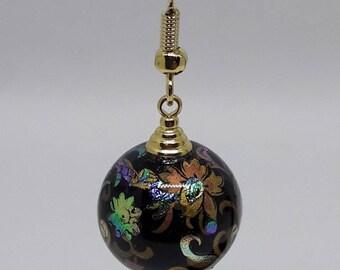 gold tone Tensha bead earrings
