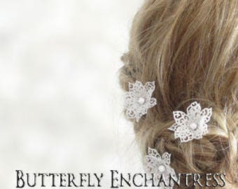 Bridal Hair Flowers, Lace Wedding, Rhinestone Hair Accessories, Headpiece - 3 Victorian Lace Snowflake Flower Hair Pins - White or Ivory