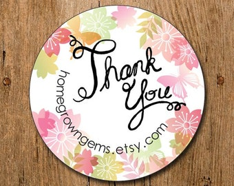 Customized Thank You Stickers - Pastel Colorful Flowers Butterflies - Wedding - Party - Packaging Display - Thank You Stickers