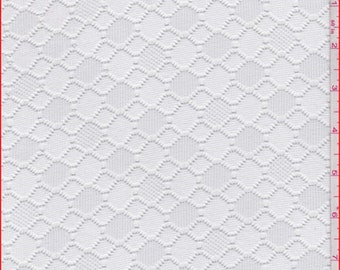 White Hexagon Stretch Lace, Fabric By The Yard