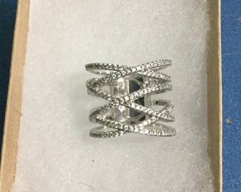 WIDE Sterling Silver CrissCriss CZ Band Ring. Sz7