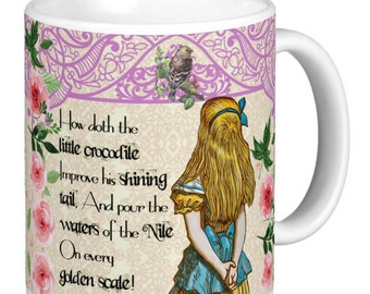 Alice In Wonderland - Double Quote Mug, Mug has a different quote either side, Magenta Lattice effect top  - Alice Gift Mug