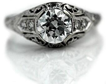 "Vintage Engagement Ring Art Deco 1930's Old European Cut Diamond Engagement Wedding Anniversary Ring 18K White Gold ""The Savannah"""