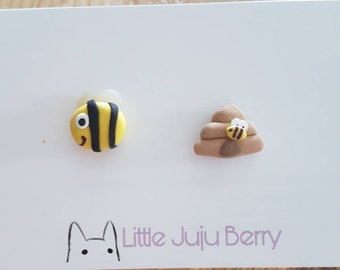 Bee & Hive Polymer Clay Studs