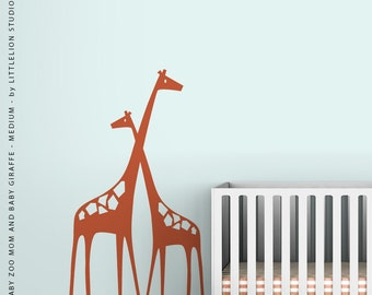 Baby Zoo Mom and Baby Girafffe - Medium - Wall Decal by LittleLion Studio