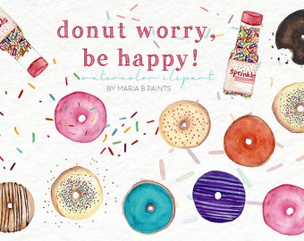 Watercolor Clip Art - Donuts-Personal Use-Sweets-Doughnuts-Yummy-Sprinkles-Baked Goods-Bakery-Frosting-Glazed-Sugar-Coffee-Fun-Colorful