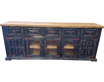 80 inch Hi End Rustic TV Stand 5 Doors 5 Drawers Western Solid Wood Black Distressed Rough Cut Finish Ships Already Assembled