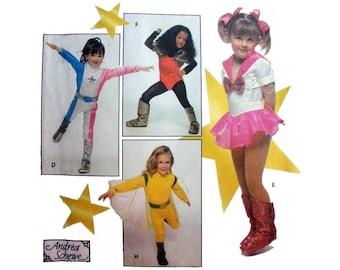 Girls Super Hero Costume, Halloween Sewing Pattern, Child Size 3, 4, 5, 6, 7, 8 Uncut Simplicity 9779