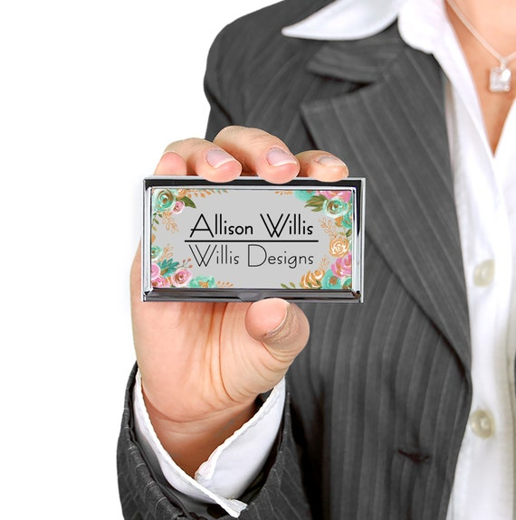 Personalized Business Card Case Custom Business Card Holder New Job Gift Promotional Items Classy Floral Design Business Name Monogram