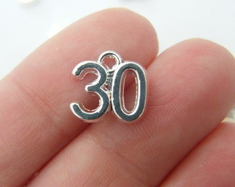 8 Number 30 charms 12 x 10mm silver plated